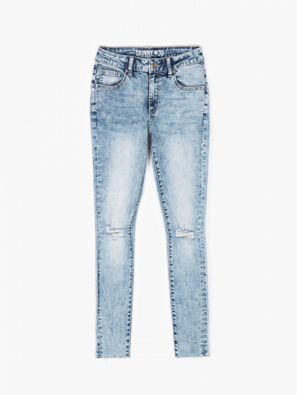 Skinny jeans with raw hems