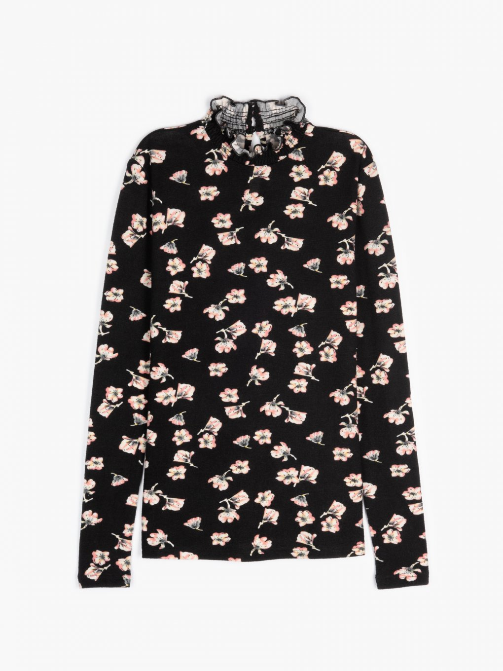 High collar floral print top