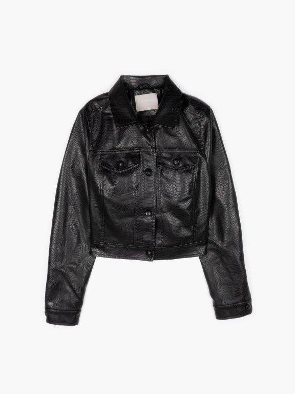 Faux leather boxy jacket
