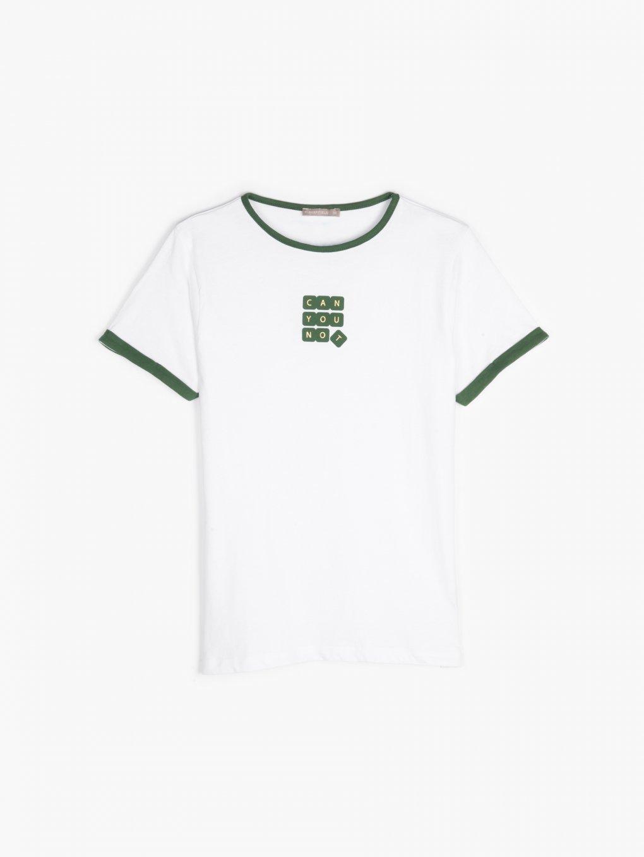Bavlněné tričko s kontrastním lemem