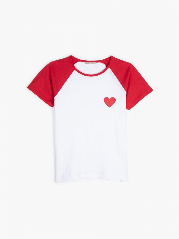 Bawełniana koszulka z nadrukiem i kontrastującymi raglanowymi rękawami