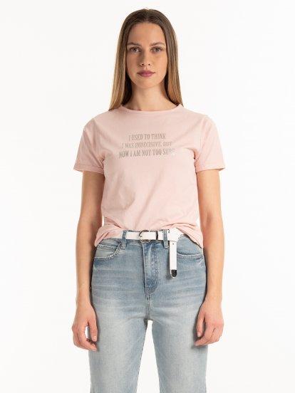 Bavlnené tričko so strieborným nápisom