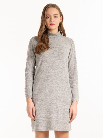 High collar fine knit dress