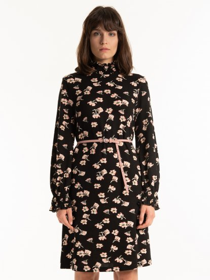 High collar floral print dress