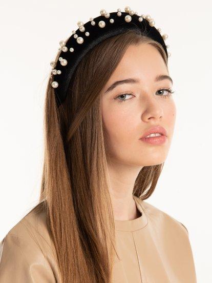 Sponge padded headdress with faux pearls