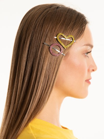 3-pack faux stones hairgrips