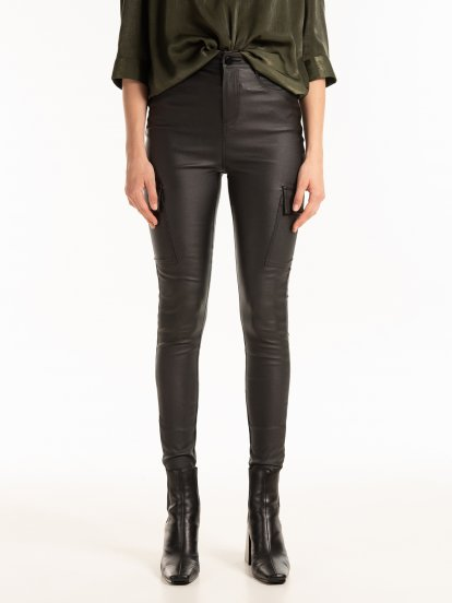 Faux leather skinny cargo trousers