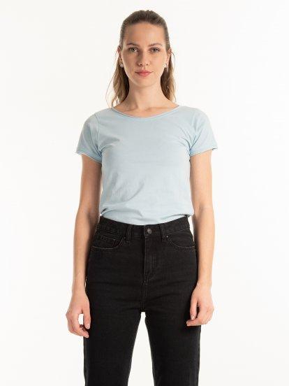 Koszulka basic z surowymi krawędziami