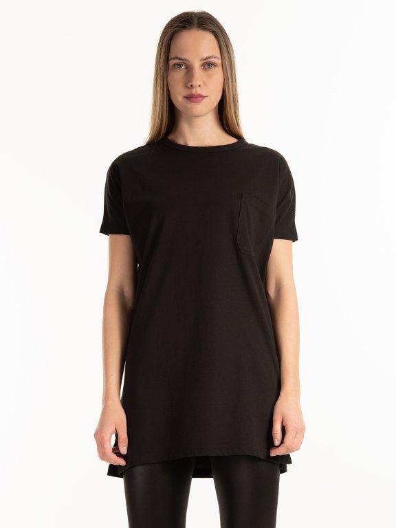 Jednoduché prodloužené tričko s kapsou