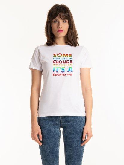 Bavlnené tričko s holografickým nápisom