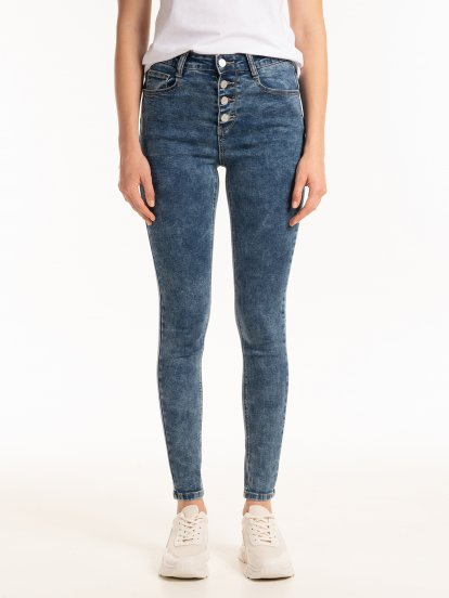 High waisted push-up skinny jeans