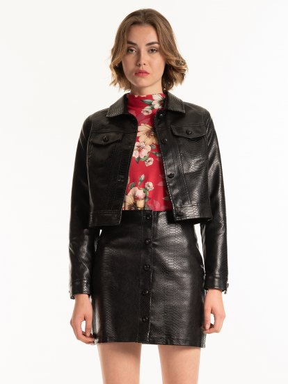 Faux leather boxy jacket