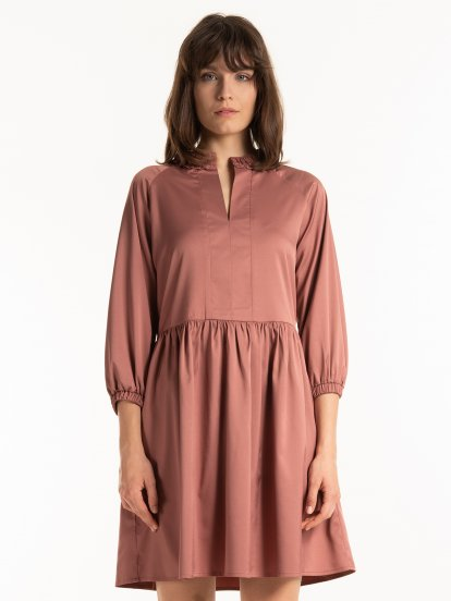 Plain baloon sleeve dress