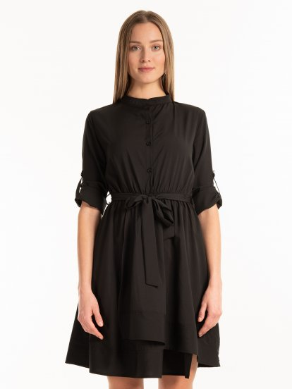 Shirt dress with blelt