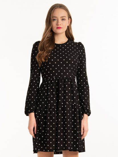 Polka dots ribbed dress