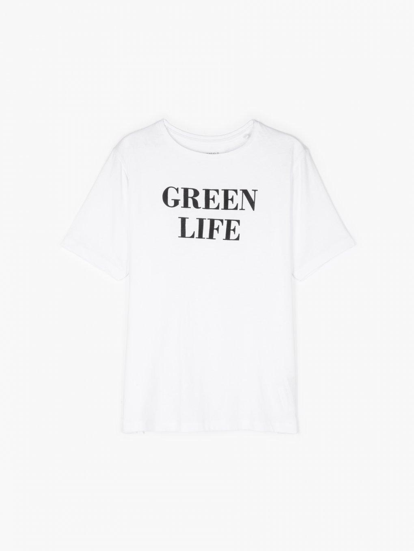 Organic cotton slogan print t-shirt