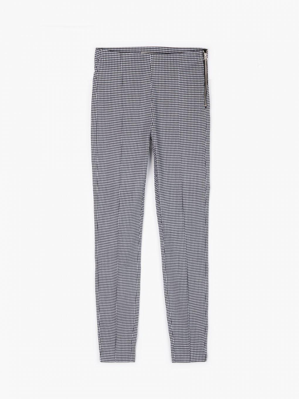 Elastyczne spodnie w pepitowy wzór