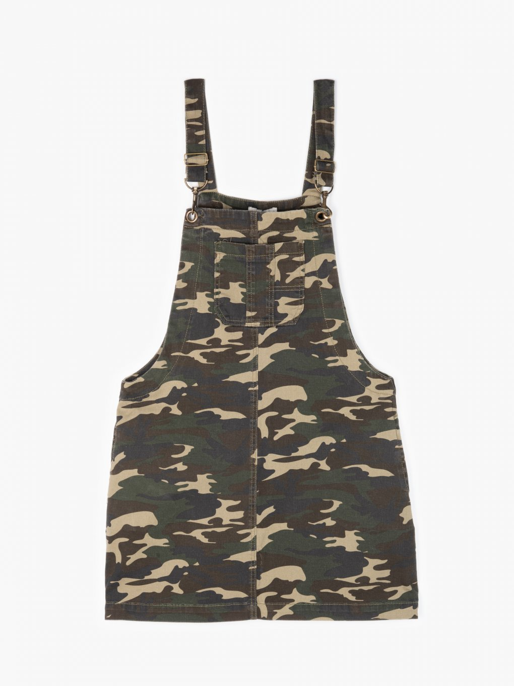 Camo print dungaree skirt