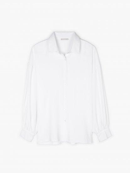 Teksturowana bluzka z marszczonymi rękawami