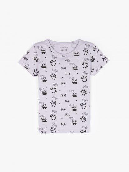 Panda print cotton t-shirt