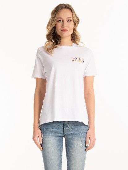 Bawełniana koszulka z kolorowym napisem