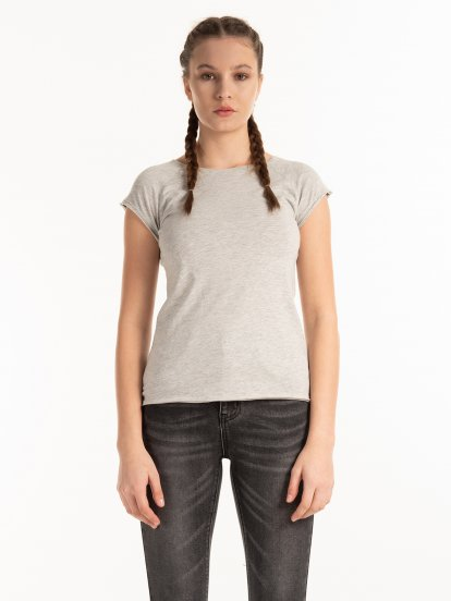 Koszulka basic z bawełny z raglanowymi rękawami