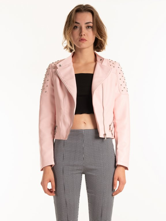 Vegan leather biker jacket with studs