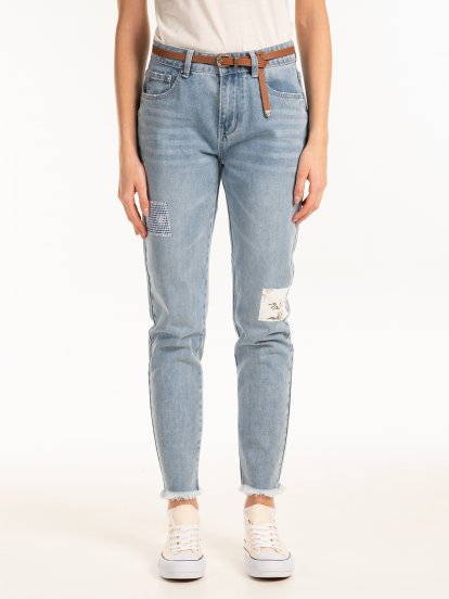 Mom fit jeans with patches