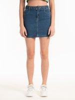 Denimová mini sukně s páskem