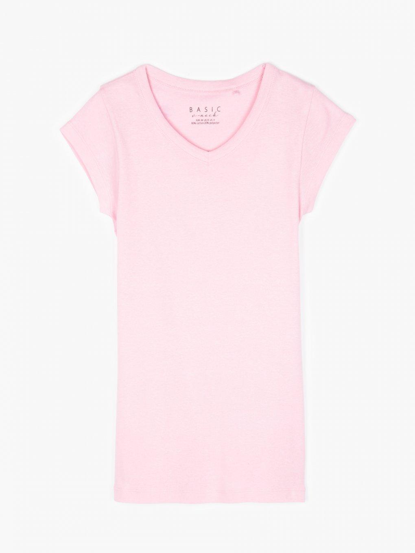 T-shirt basic z dekoltem w szpic