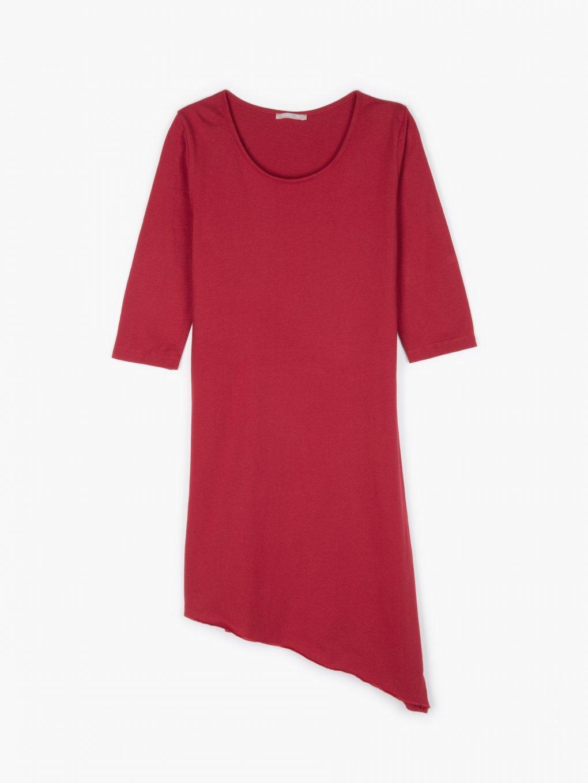 Dlhý bavlnený top s asymetrickým spodným lemom