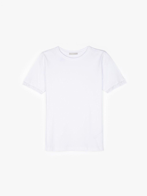 Základní bavlněné tričko s krajkou na rukávech