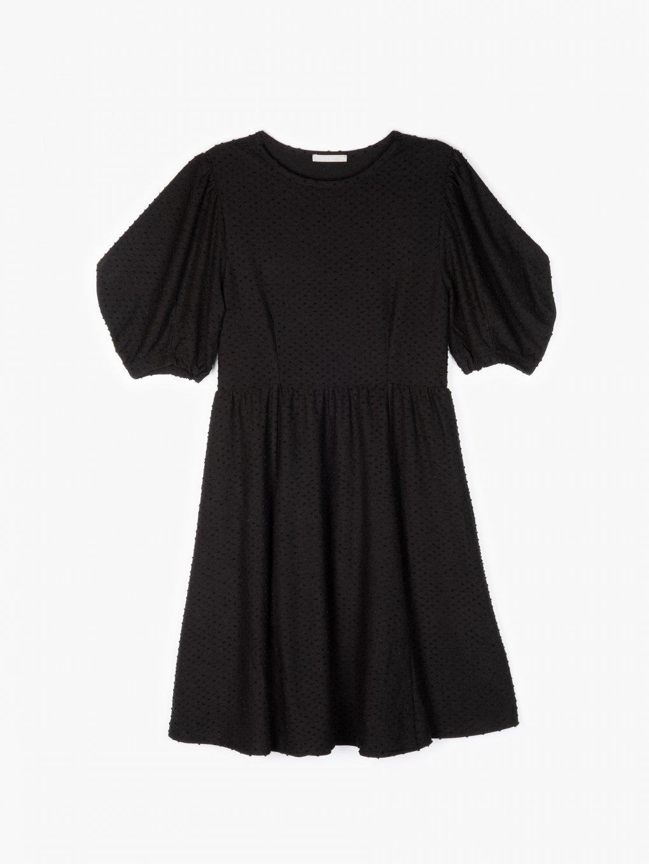 Strukturalna sukienka z marszczonymi rękawami
