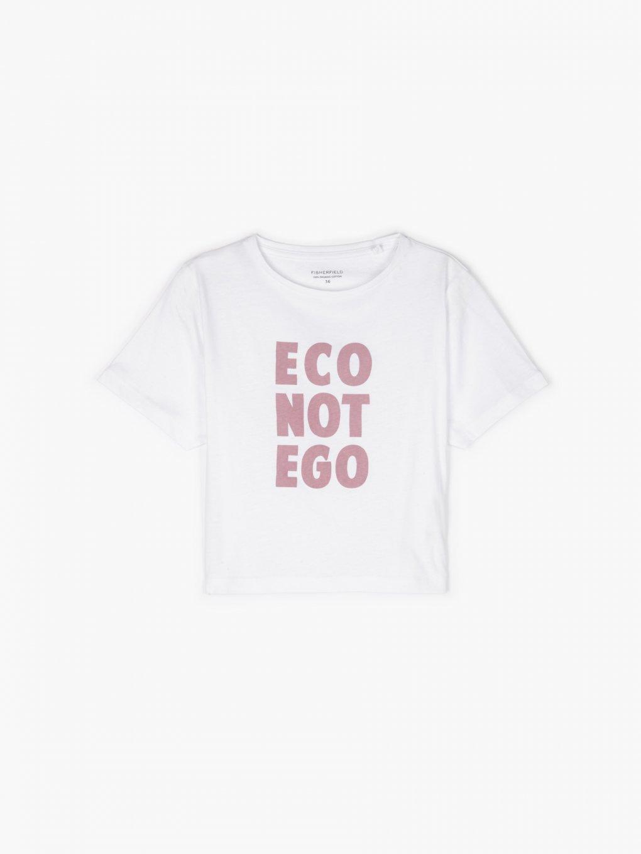 Krótka koszulka z organicznej bawełny z napisem