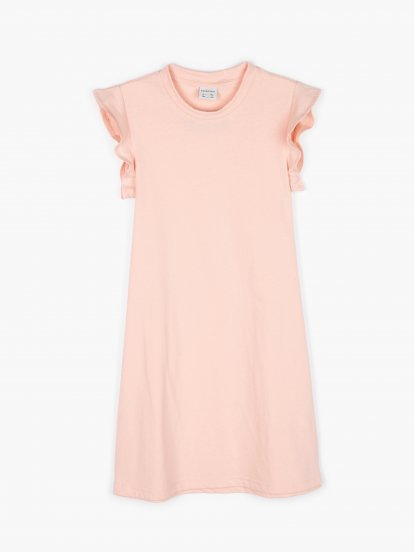 Dress with ruffle sleeves