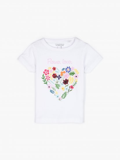 Organic cotton t-shirt with floral print
