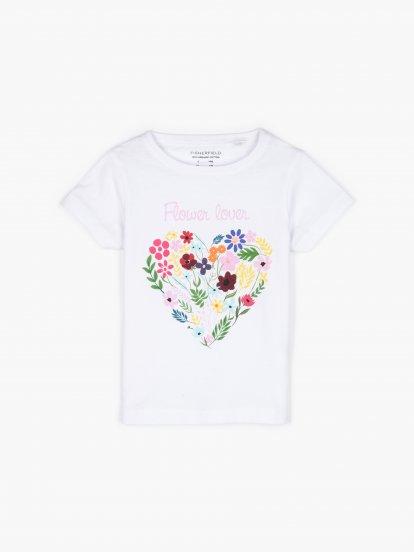 T-shirt z bawełny organicznej w kwiatowy print