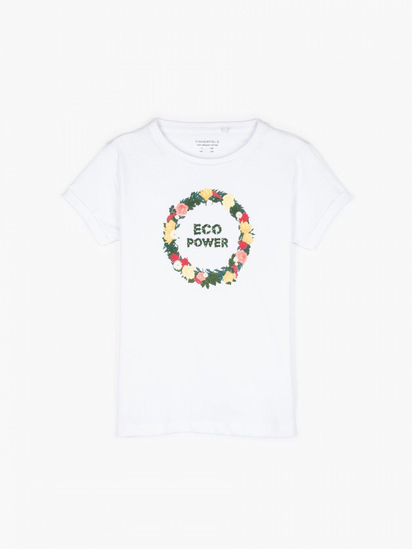 Tričko z organickej bavlny s kvetinovou potlačou