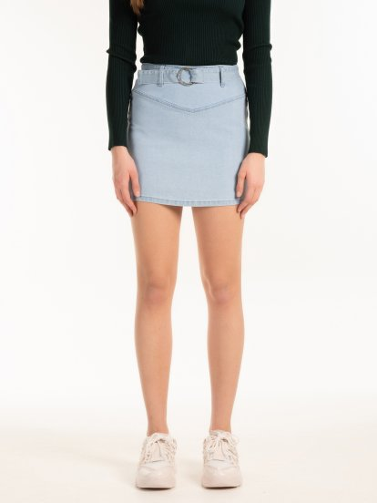 Denim mini skirt with belt
