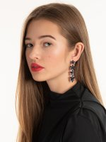 Long faux stone earrings