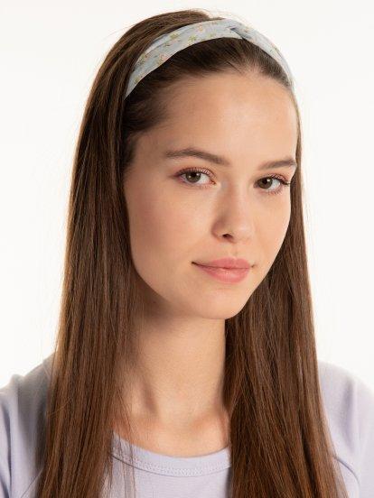 Szyfonowa opaska na włosy z węzłem