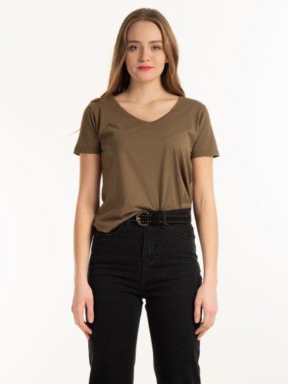 T-shirt basic z bawełny z dekoltem w szpic