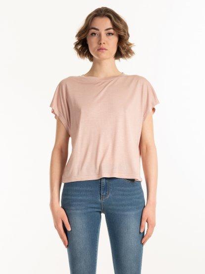 Podstawowa koszulka z wiskozy o swobodnym kroju
