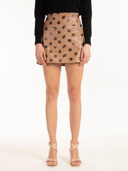Faux leather dot print mini skirt