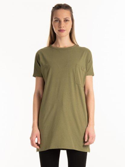 Basic longline t-shirt with pocket