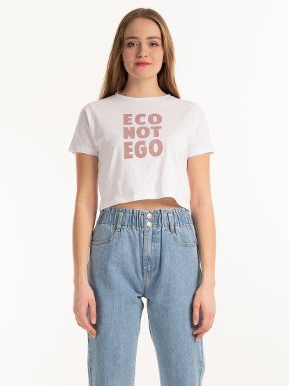 Organic cotton crop top with slogan print