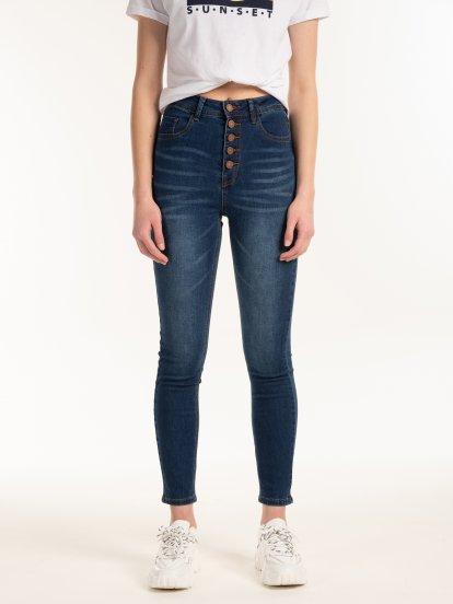Džínsy skinny s vysokým pásom