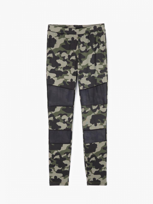 Combined camo print leggings