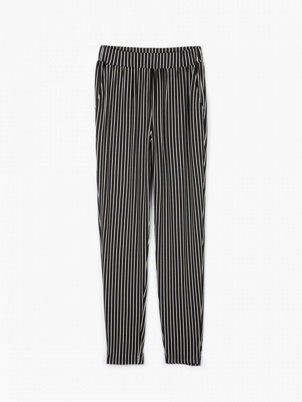 Striped elastic trousers