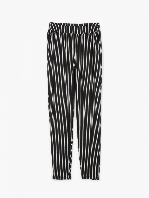 Proužkované elastické kalhoty